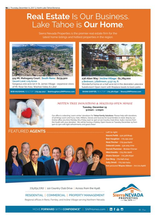 SNP Ad in the Tahoe Bonanza December 13, 2017