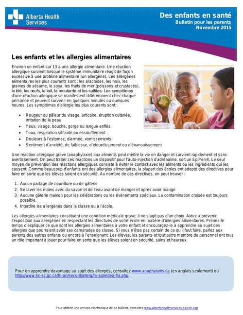 AHS Bulletin pour les parents novembre 2015