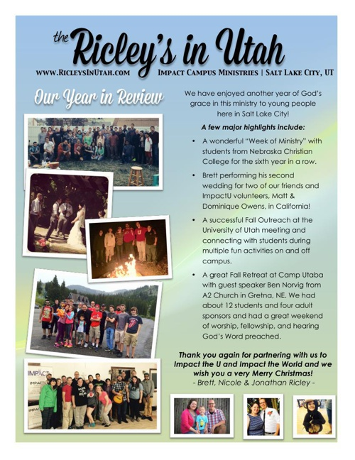 Ricley's In Utah | Year End Newsletter