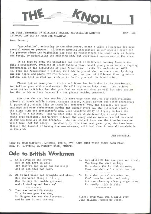 Hillcrest Housing Association Newsletters 1983 to 2004
