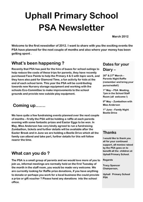 PSA Newsletter