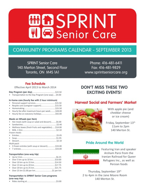September Community Programs Calendar