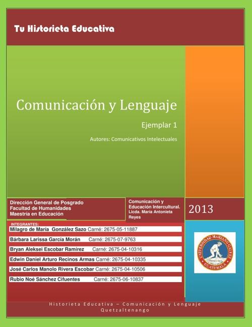 Historieta Educativa Comunicacion y Lenguaje
