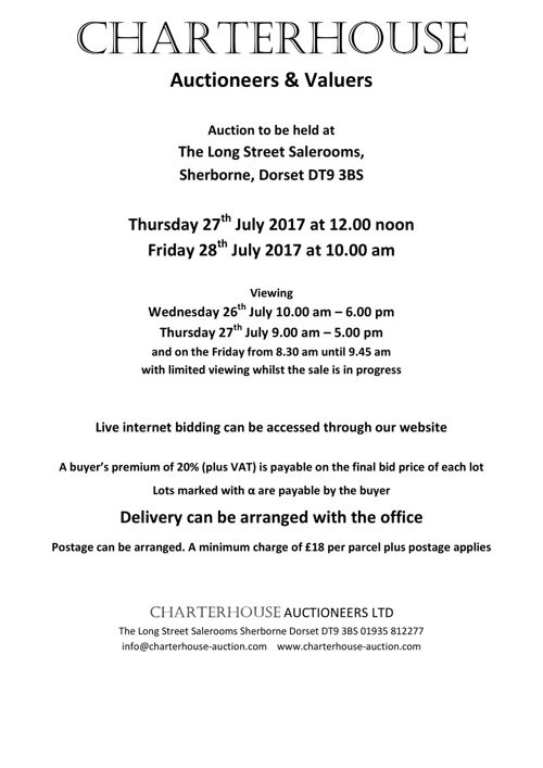 Charterhouse July 2017 Antique Auction Catalogue
