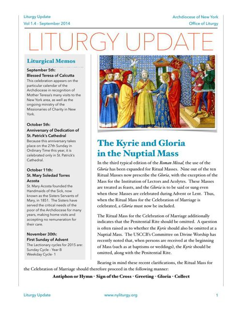 Liturgy Update September 2014