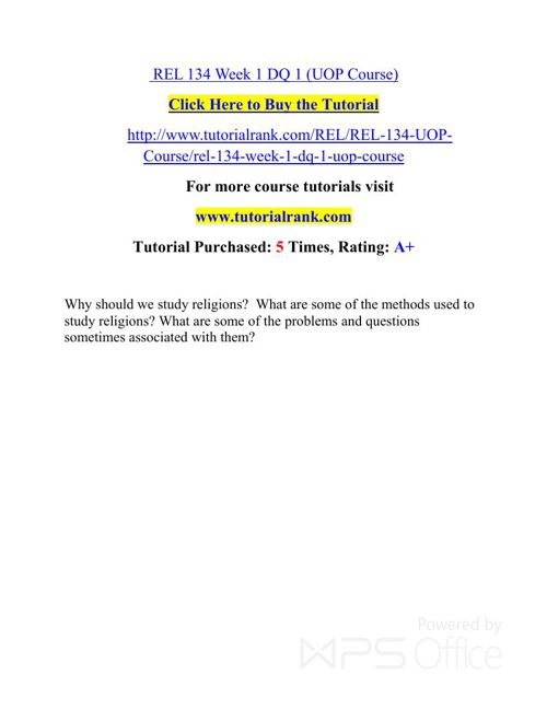 REL 134 Potential Instructors / tutorialrank.com