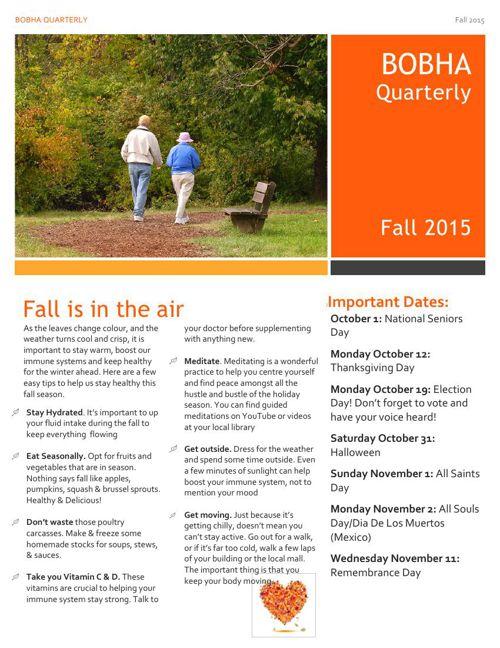 BOBHA Fall 2015 Newsletter