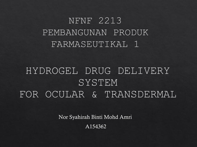 Hydrogel drugs delivery system