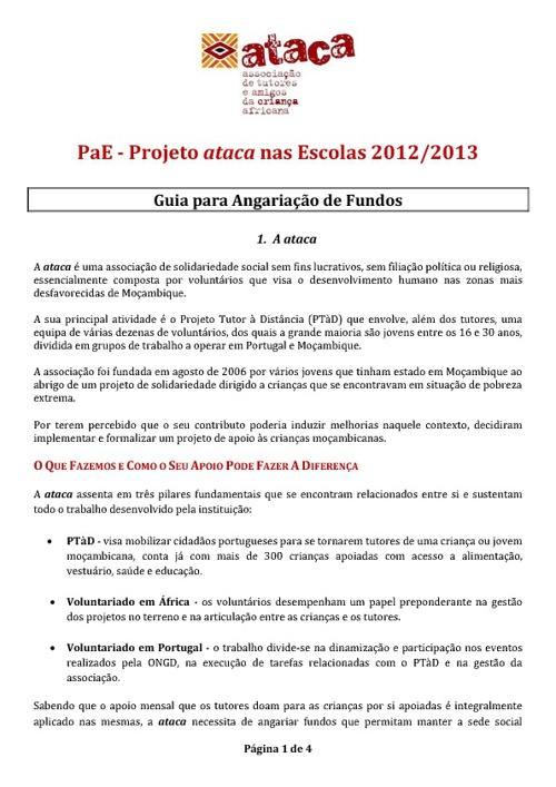 PaE - Guia para Angariação de Fundos