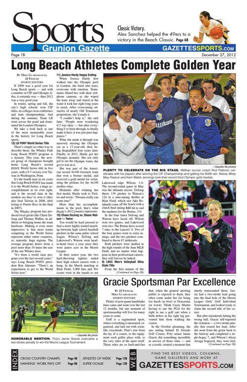 Gazette Sports   December 27, 2012