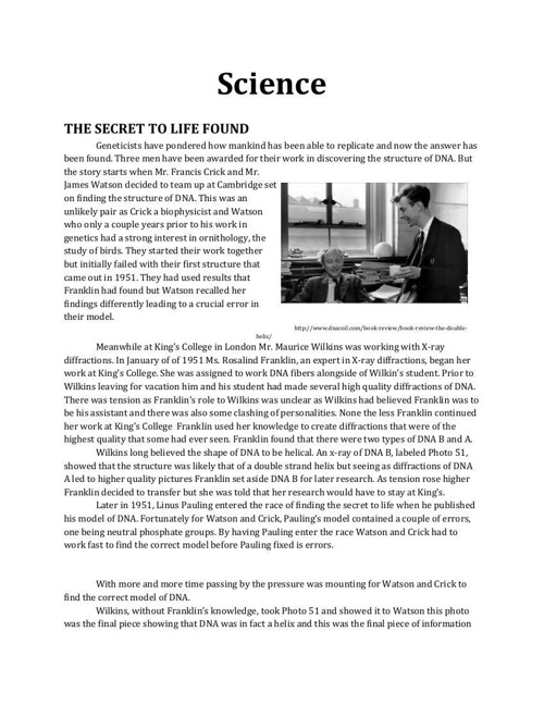 Science Magazine- Biology Project