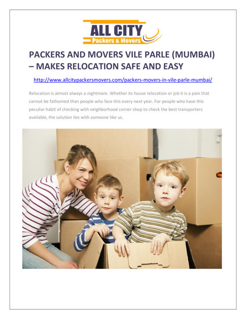 Packers and Movers Vile Parle (Mumbai)