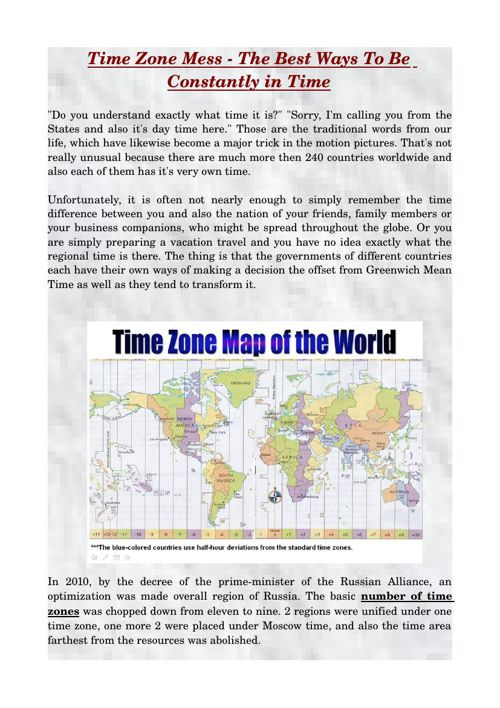 Time Zone Mess - The Best Ways To Be Constantly In Time