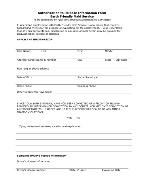 Pre- Employment Forms