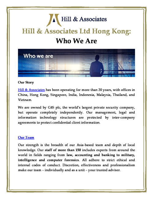 Hill & Associates Ltd Hong Kong Who We Are