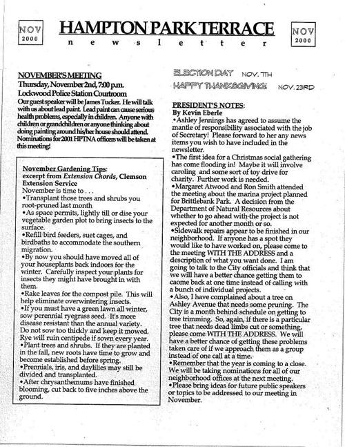 HPT Neighborhood November 2000