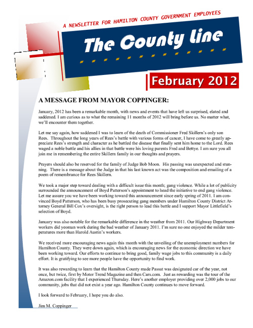 The County Line Newsletter - Feb 2012