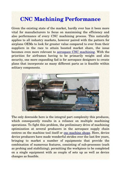 CNC Machining Performance