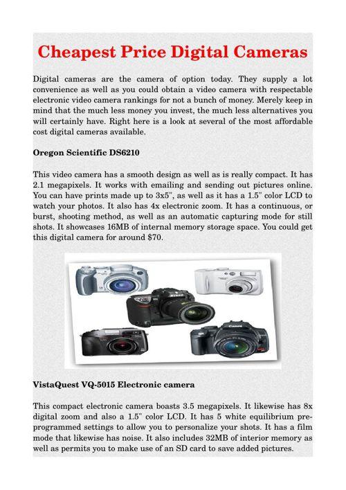 Cheapest Price Digital Cameras