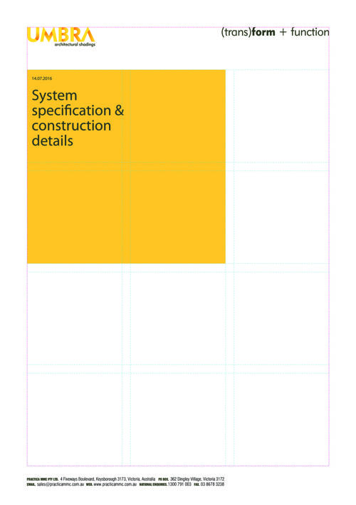 UMBRA System Installation & Construction Details Manual