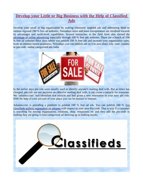 Develop your Little or Big Business with the Help of Classified