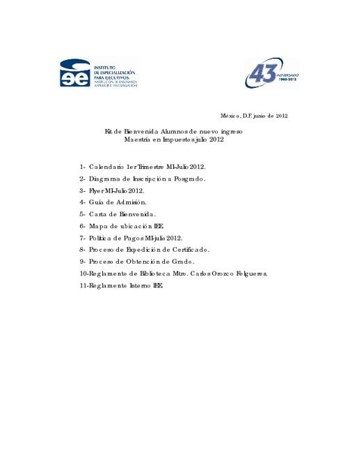 kit de bienvenida Alumnos Nuevo Ingreso MI-DF julio2012