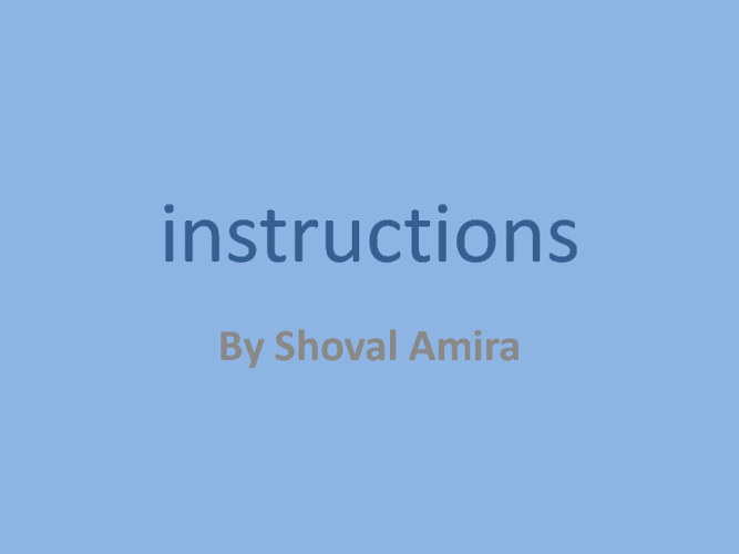 הוראות instructions shoval