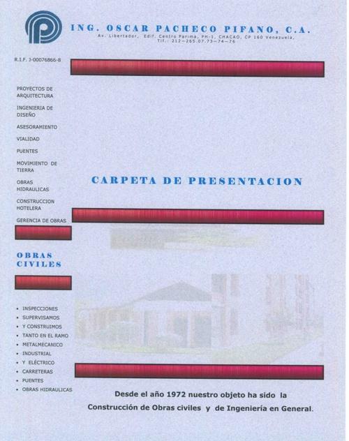 Ing. Oscar Pacheco Pifano, C.A. - Carpeta de Presentación