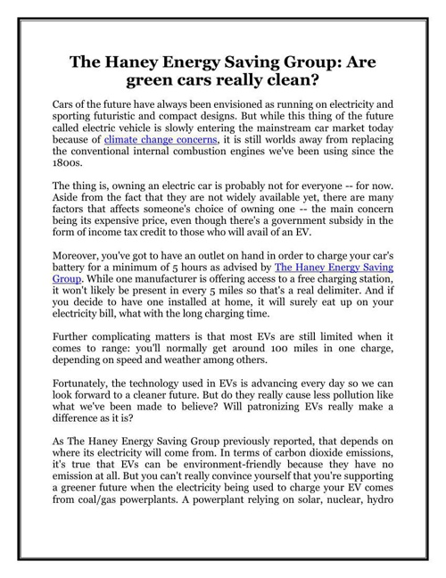 The Haney Energy Saving Group: Are green cars really clean?