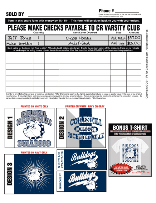 Cobleskill-Richmondville Bulldogs Winter Fundraising Brochure