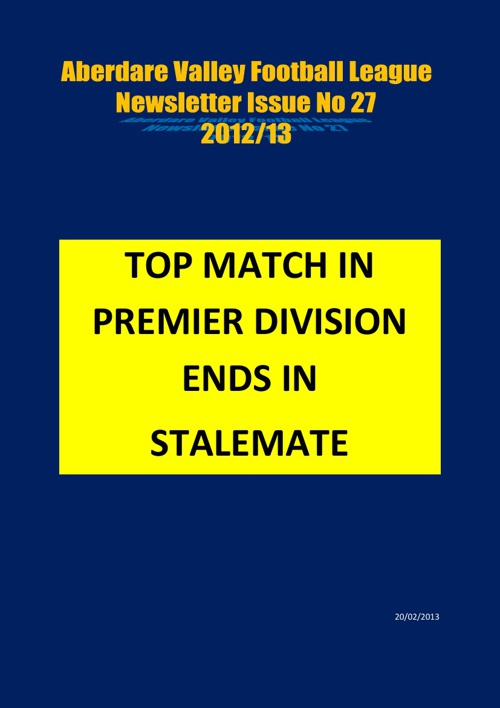 ABERDARE VALLEY FOOTBALL LEAGUE NEWSLETTER ISUE 27