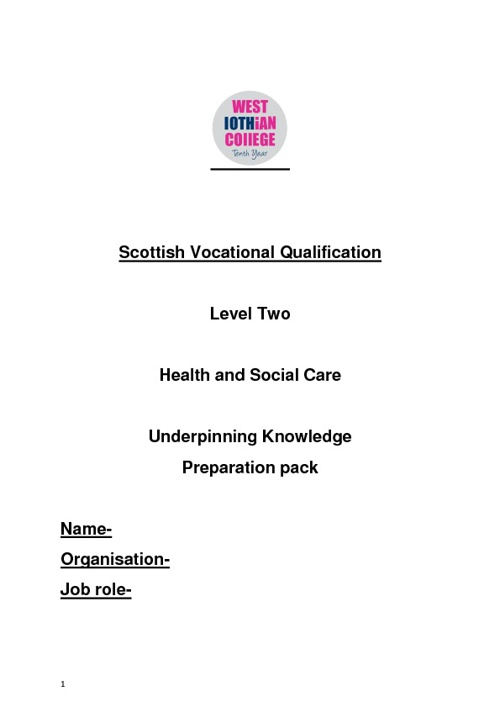 Health and Social Care Prep Booklet