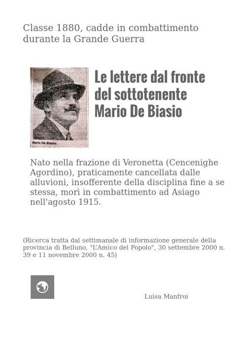 Le lettere dal fronte del sottotenente Mario De Biasio