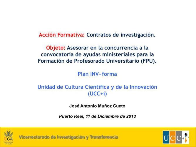 PRESENTACION CHARLA BECAS FPU 2013