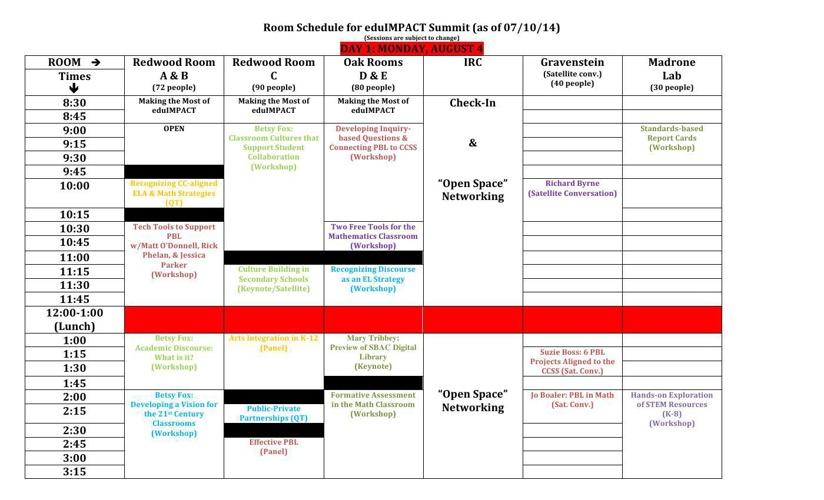 eduIMPACT Room Schedule