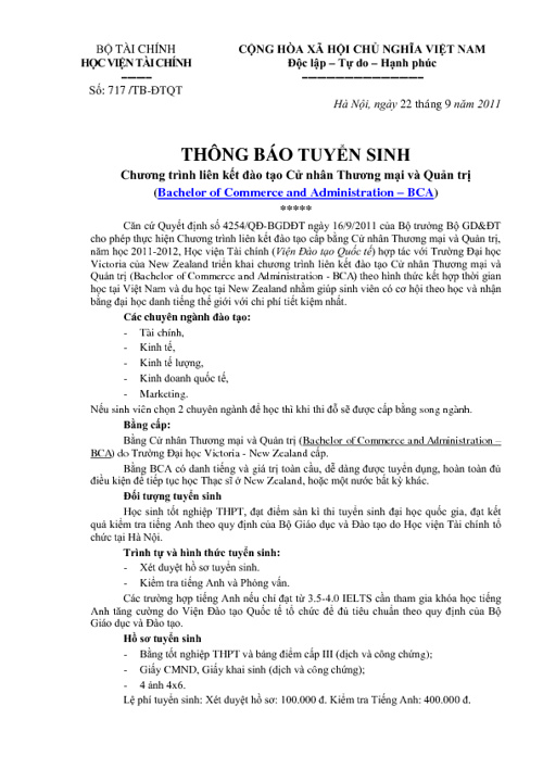 Thong bao Tuyen sinh Chuong trinh LKĐT BCA