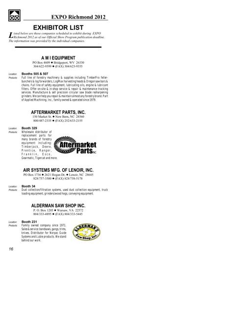 EXPO 2012 Exhibitor Listing