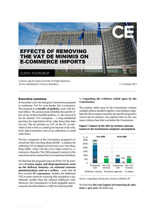 CE - Effects of removing the VAT de minimis on e-commerce