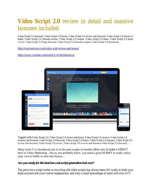 VideoScript 2.0  review and sneak peek demo