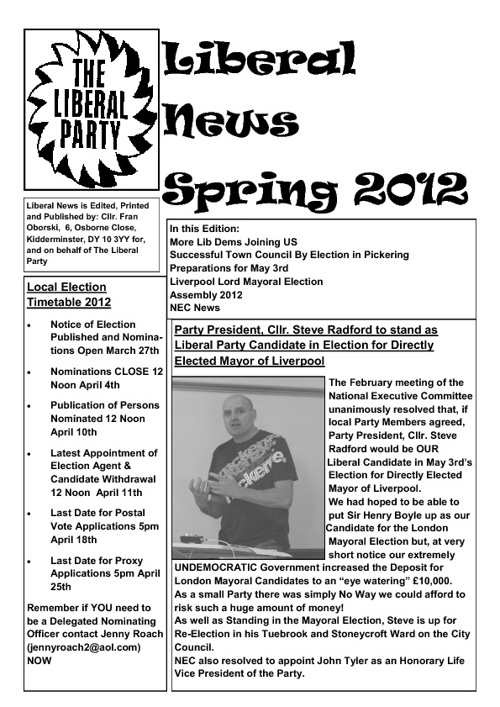 Liberal News Spring 2012