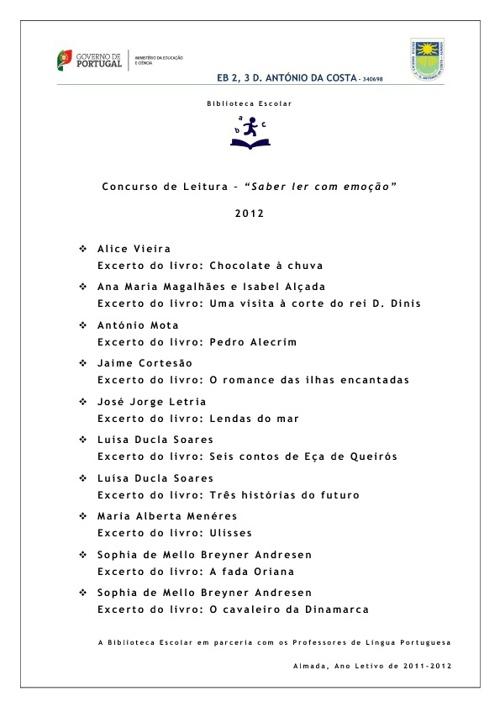 """Concurso """"SABER LER COM EMOÇÃO"""" - TEXTOS"""