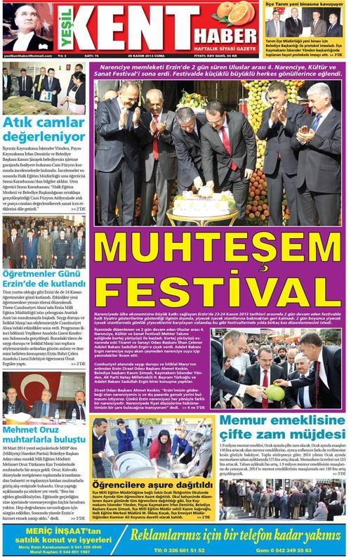 Yeşilkent Haber Gazetesi - Sayı 76