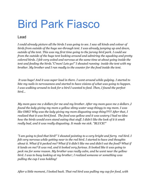 Bird Park Fiasco