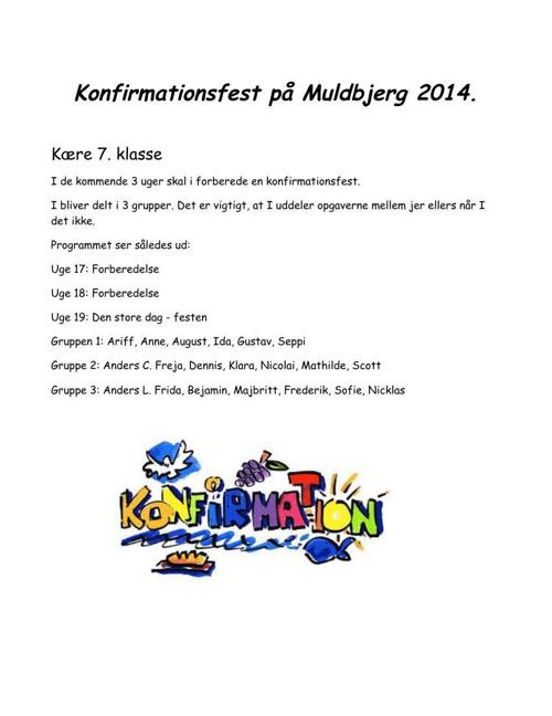 Konfirmationsfest på Muldbjerg 2014