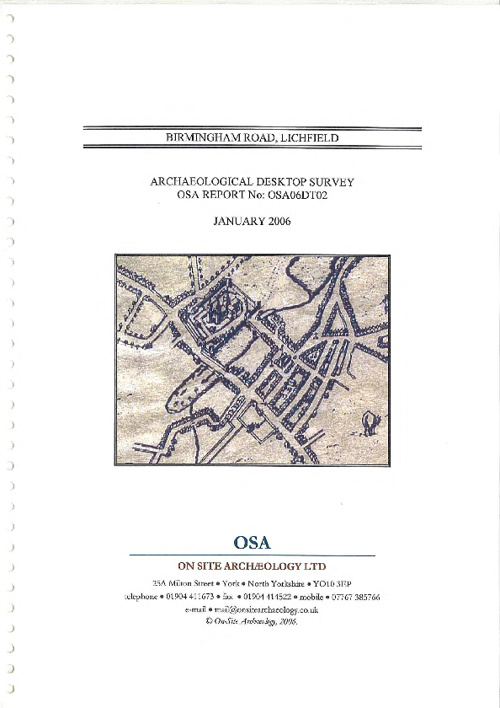 Birmingham Road - Lichfield - Archaeological Survey