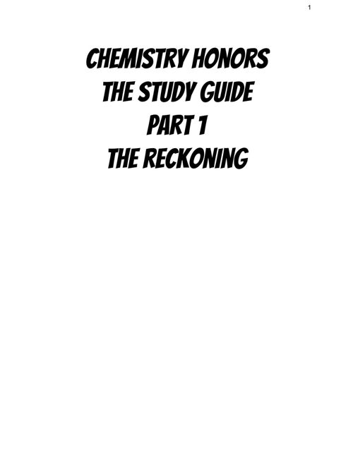 Chemistry Honors Study Guide Midterm