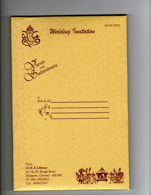 Varun Sudarshana Wedding invitation