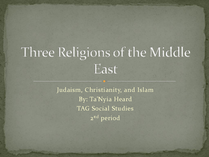 Middle East Compare/Contrast-Ta'Nyia Heard 2nd period