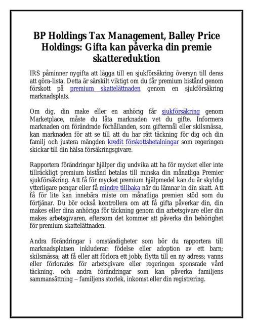 BP Holdings Tax Management, Balley Price Holdings: Gifta kan påv