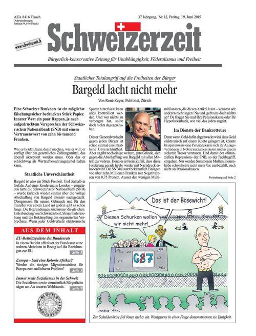 Schweizerzeit-Ausgabe Nr. 12 vom 19.06.2015